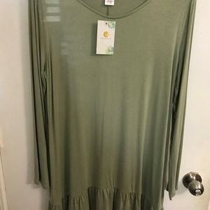 Sage green tunic top with ruffle and long sleeves